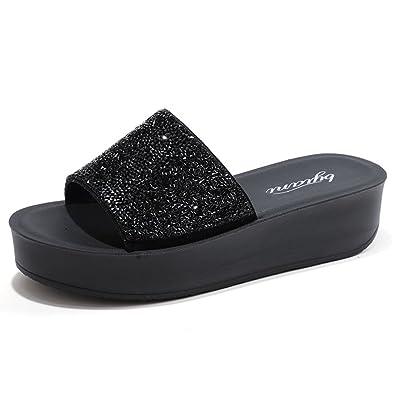 37b6baa939efe9 Btrada Women s Platform Sandals-Anti-Slip Thick-Soled Wedges Shoes Black