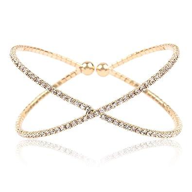 5b82528b5fffc RIAH FASHION Sparkly Rhinestone Bridal Wedding Statement Bracelet - Cubic  Zirconia Crystal Stretch Memory Wire/Adjustable Wrist Band Cuff/Hinge ...