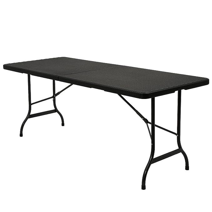 Zelsius - Mesa plegable, 180 x 75 x 72 cm, mesa de jardín, mesa ...