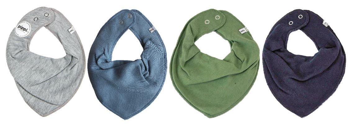 Pippi * Grey Blue Set of 4Baby Triangular Bandage Bibs 4Pack Olive Navy