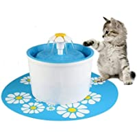 1.6L Flower Style Automatic Electric Pet Water Fountain Dog Cat Drinking Bowl with Corner Fit+Silicone Mat Mat (blue)