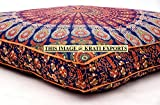 Krati Exports Indian Daybed Big Seating Peacock Mandala Floor Pillow Cover Pouf Cushion Case Bohemian Ottoman Meditation Throw Large By (Blue Orange)