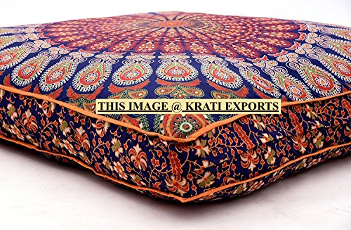 Krati Exports Indian Daybed Big Seating Peacock Mandala Floor Pillow Cover Pouf Cushion Case Bohemian Ottoman Meditation Throw Large By (Blue Orange) by Krati Exports