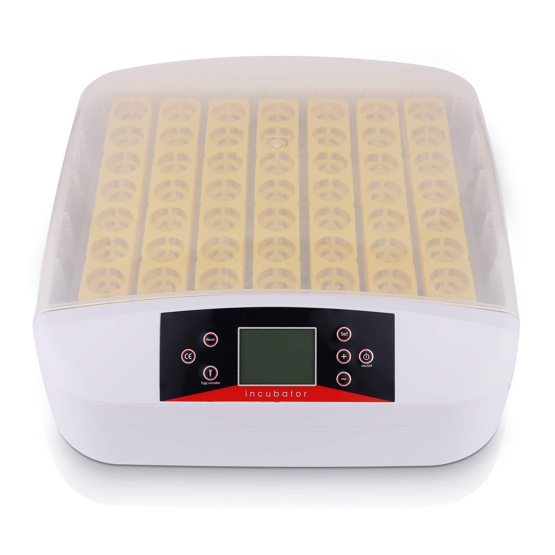 Incubadoras Automáticas para 56 Huevos, Incubadora Automática de Huevos con Iluminación LED, Control de Temperatura y Rotación Automática de Huevos, Incubadora para Incubar Gallinas, Patos, Codornices