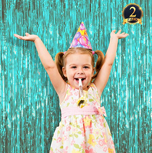 2 Pack Turquoise Foil Fringe Curtain Photo Booth Backdrop Shiny Metallic Tinsel Door Curtains Props Perfect for Birthday,Weddings,Baby Shower Party Stage Decorations,Bachelorette Parties 3.3ft x 6.5ft ()