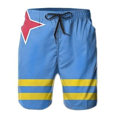 BBAngle Aruba Flag Mens Board Shorts Swim Trunks Men Tropical Basketball Swim Board Shorts