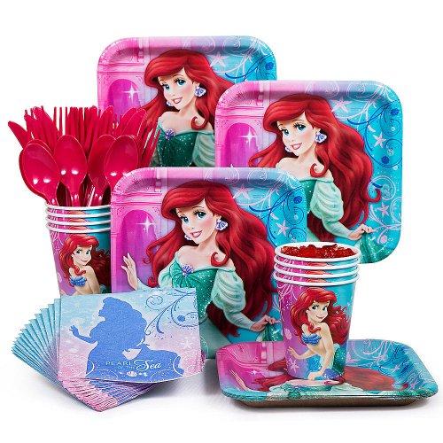 Costume Supercenter BBKIT284 Little Mermaid Standard Birthday Party Tableware Kit -