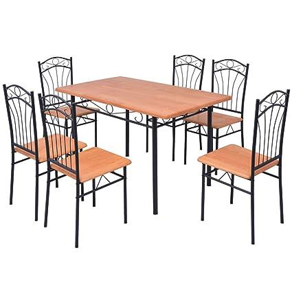 Festnight Set da Pranzo/Tavolo cucina con sedie 7 pz Marrone: Amazon ...