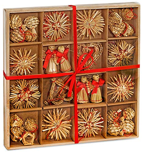 (BRUBAKER 48-Piece Set Straw Tree Ornaments - Up to 2.6 Inches - Stars, Hearts, Angels & More)