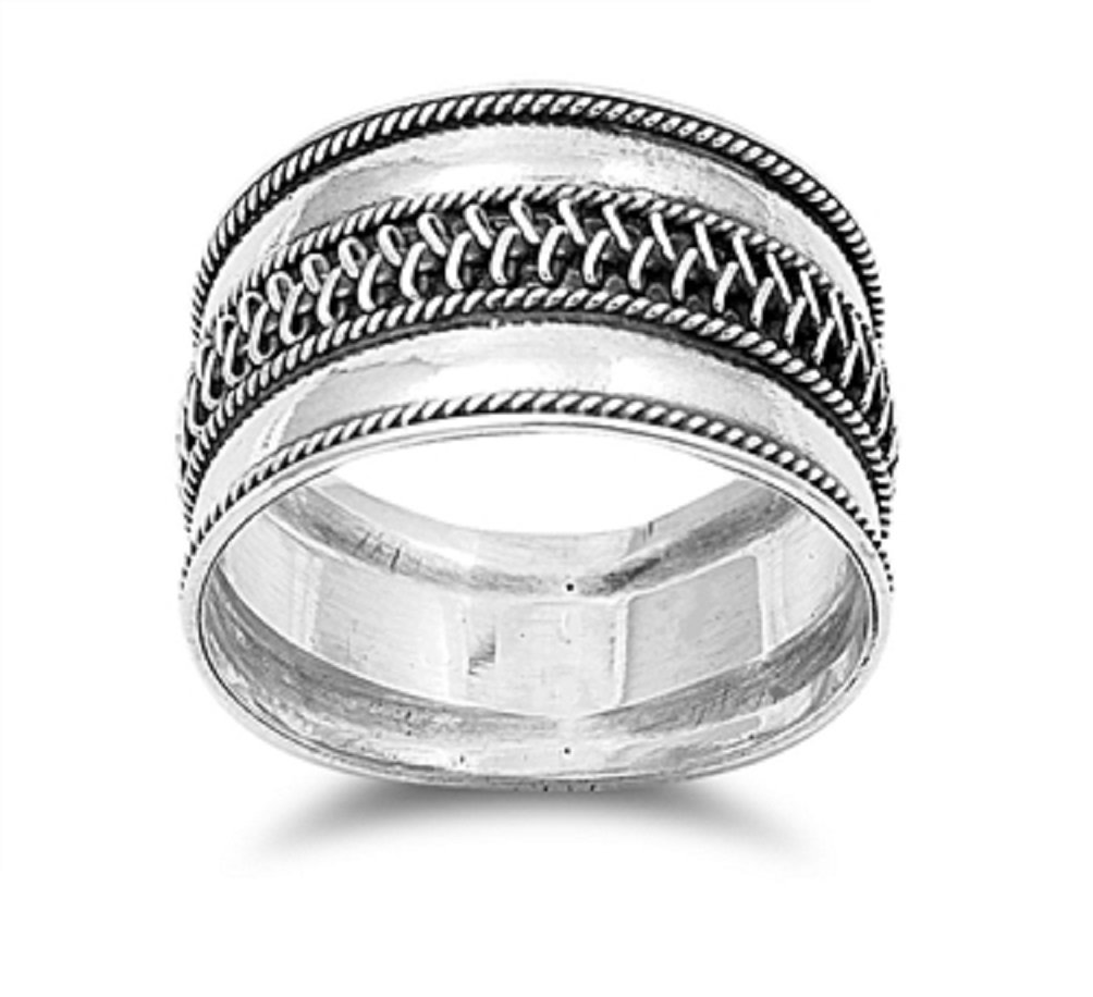 925 Sterling Silver Eternity Summer Bali Tribal Ring Size 7