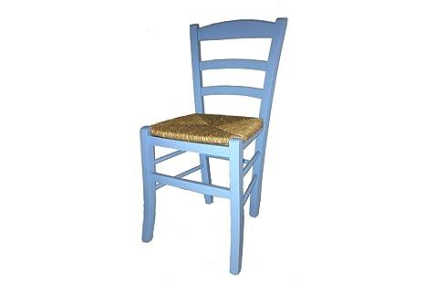 Sedie In Legno Colorate Per Cucina.Sedia Paesana Seduta Paglia Laccata Colorata Sedie In Legno Faggio Colorate Azzurro