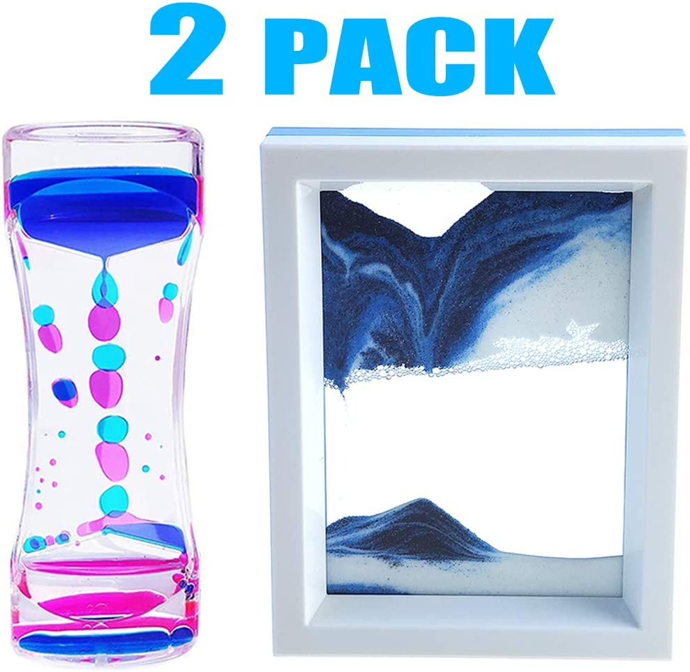 FKYTION Liquid Motion Bubbler Timer and Moving Sand Art Picture 2 Pack Colorful Hourglass Liquid Bubbler Art Toys Children Activity Calm Relaxing Desk Toys Voted Best Gift!