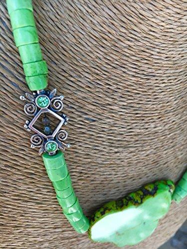 Citron Lemon Chrysoprase Rondelles Gemstone Pendant Necklace ()