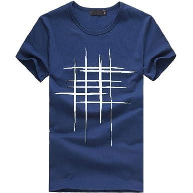 Camisetas Hombre, SHOBDW Camisetas De Impresión Camisa De Cuello Redondo Rayas Manga Corta Sólido Camiseta Algodón Casual Blusa Moda Verano Tallas Grandes para Hombres(Armada, M): Amazon.es: Ropa y accesorios