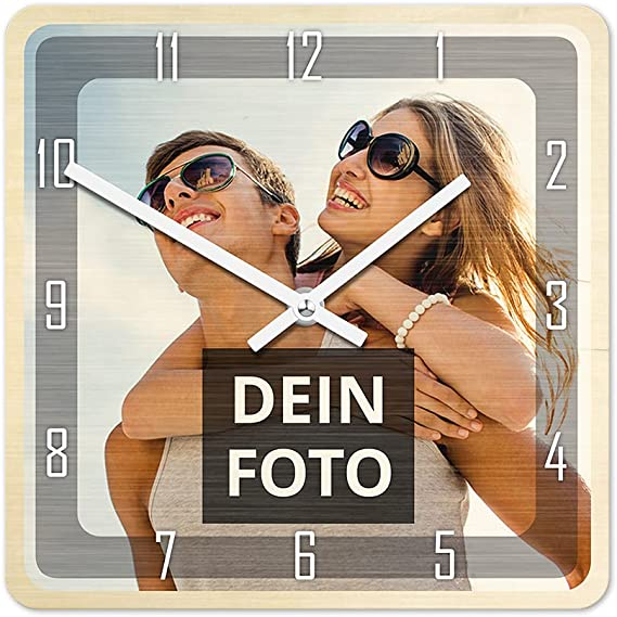 Fotouhr 28 x 65 cm aus Holz in Schwarz Weiß oder Silber Foto Wand Uhr
