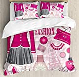 Girls Comforter Set,Fashion Theme in Paris with Outfits Dress Watch Purse Perfume Parisienne Landmark Bedding Duvet Cover Sets For Boys Girls Bedroom,Zipper Closure,4 Piece,Pink Biege Twin Size