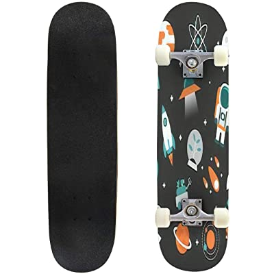 Classic Concave Skateboard Set of Astronomy Flat icon Flat Style Isolated on White Background Longboard Maple Deck Extreme Sports and Outdoors Double Kick Trick for Beginners and Professionals : Sports & Outdoors