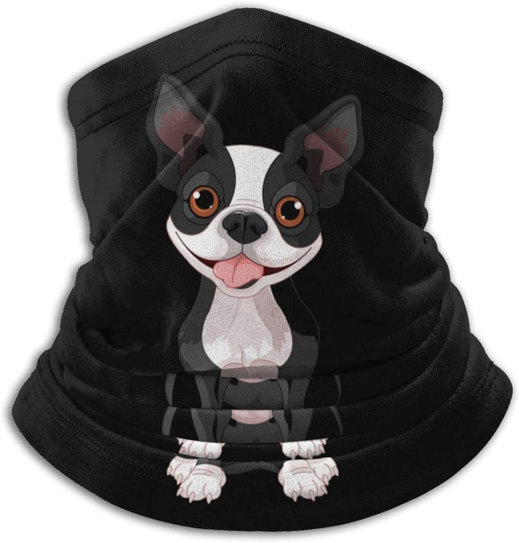 Yuanmeiju Boston Terrier Unisex Microfibra Cuello Calentador Headwear Pañuelo facial Máscara para invierno Máscara de clima frío Bandana Balaclava