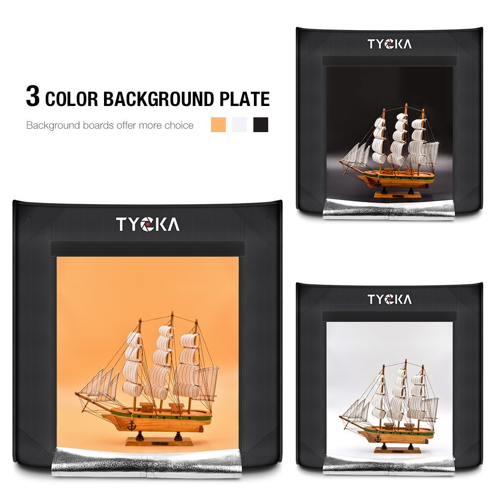 TYCKA Photo Studio Box, 24''X24''X24''Portable Folding Professional Photography Tent with 2 LED Light Strips and 3 Backdrops (Black, White, Beige) by TYCKA (Image #5)
