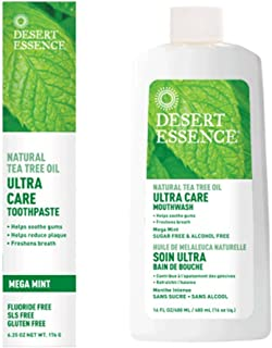 product image for Desert Essence Natural Tea Tree Oil Ultra Care Bundle - 1 Unit of 6.25 Ounce Mega Mint Toothpaste & 16 Fl Ounce Mouthwash - Freshen Breath - May Help Reduce Plaque - Oral Care - Refreshing Taste