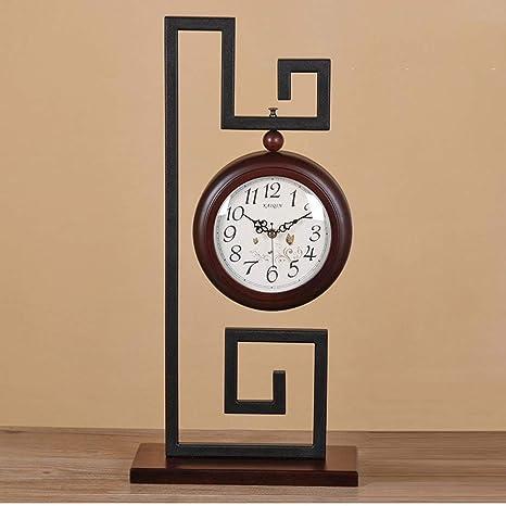 GCCI Reloj de mesa de doble cara europeo reloj de madera Reloj de ...