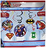 Adventure Filled Justice League Birthday Party Hanging Swirl Value Pack Decorations, Multi Colored, Foil, Assorted Sizes, 12-Piece