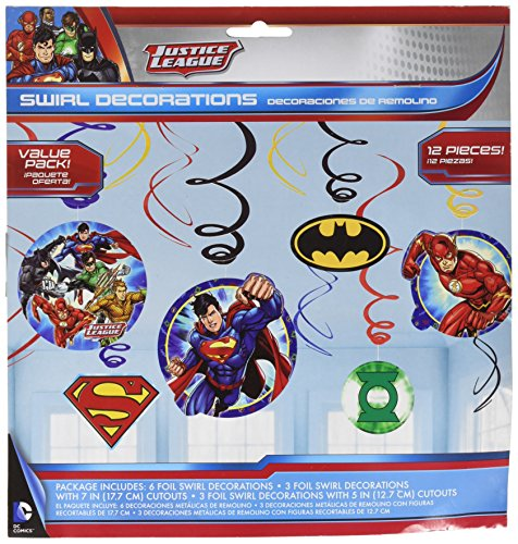Justice League Foil Swirl Value Pack Decorations, Party Favor -