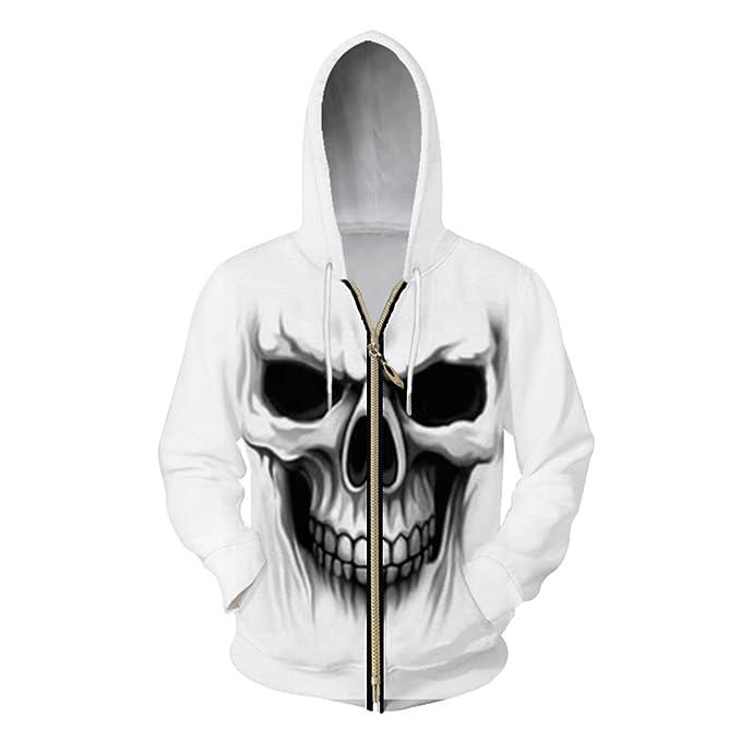 XLMSES Harajuku Hombres Sudaderas con Cremallera 3D Imprimir Horror Skull Sudadera Hip Hop Hombre Trajes Tracksuits Homme Chaquetas con Capucha Blanca: ...