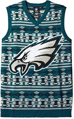 07dbd0c9 KLEW NFL Philadelphia Eagles Ugly Sweater Vest, X-Large, Green