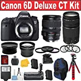 Canon EOS Rebel 6D Digital SLR Camera + Canon 28-135 USM Lens + Canon 75-300 III Zoom Lens + .43x and 2.2x Auxiliary Len - International Version