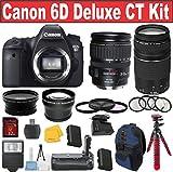 Canon EOS Rebel 6D Digital SLR Camera + Canon 28-135 USM Lens + Canon 75-300 III Zoom Lens + .43x and 2.2x Auxiliary Len - International Version