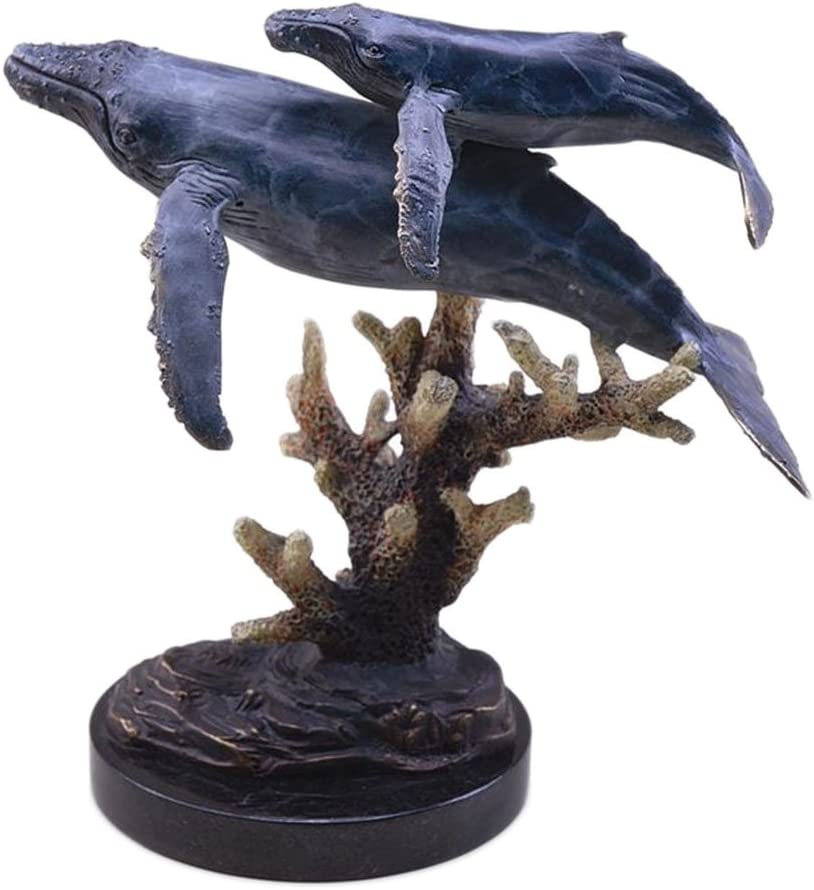 Hand Finished Humpback Whales Statue Marble Base