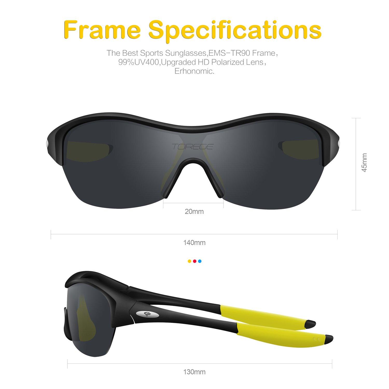 c32ad6195f8e TOREGE Tr90 Flexible Kids Sports Sunglasses Polarized Glasses for Junior Boys  Girls Age 3-15 Trk001 (Black Yellow Tips)