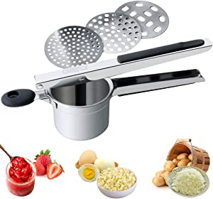 CHEFLY Stainless Steel Potato Ricer 3 Interchangeable Discs/User-friendly Handle for Making Fluffy Potato Mash Fruit Jam Baby Food P1902