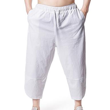 3b600cf6a8f OverDose-Homme Pantalon Baggy Large Court en Lin Homme
