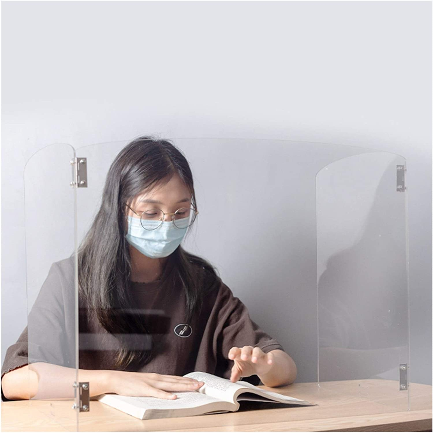 AGLZWY Sneeze Guard, Portable Folding Student Desktop Partition Screen, for Classroom, Table, Office Transparent Perspex Sneeze Shield (Color : Clear, Size : 45cm high)