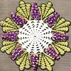 Vintage Crochet PATTERN to make - Grape Popcorn Quick Doily Motif. NOT a finished item. This is a pattern and/or instructions to make the item only.