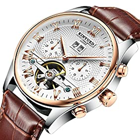 2017 KINYUED Tourbillon Automatic Men Classic Rose Gold Leather Mechanical Wrist Watches Reloj Hombre