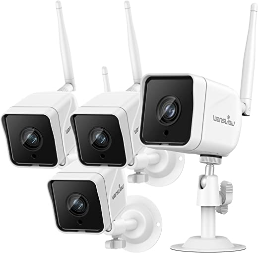 Security Camera Outdoor , Wansview 1080P Wired WiFi IP66 Waterproof Surveillance Home Camera with Motion Detection, 2-Way Audio, ONVIF and RTSP Protocol and Works with Alexa W6-4PACK (White)