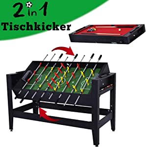 WIN.MAX WinMax Mesa Juegos 2 en 1, Mesa de Billar y Futbolín MDF Table Football Table Game, Mesa de Billar con Tissu Rouge, 137x60.5x81.5cm: Amazon.es: Juguetes y juegos