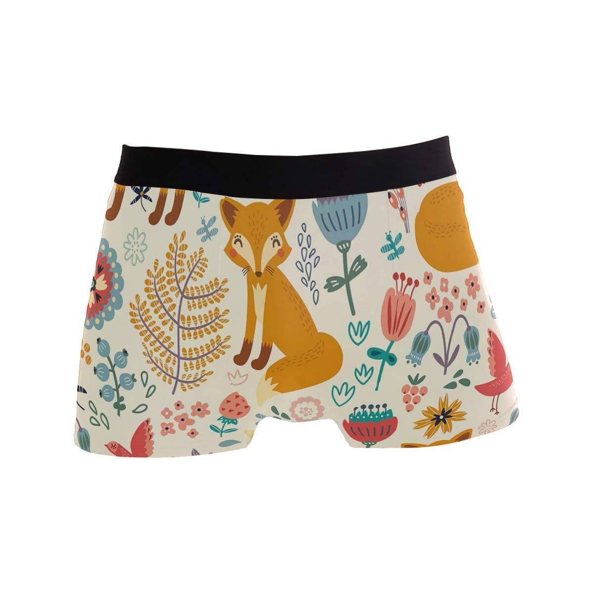 CATSDER Cute Foxes Ornate Flowers Boxer Briefs Mens Underwear Pack Seamless Comfort Soft