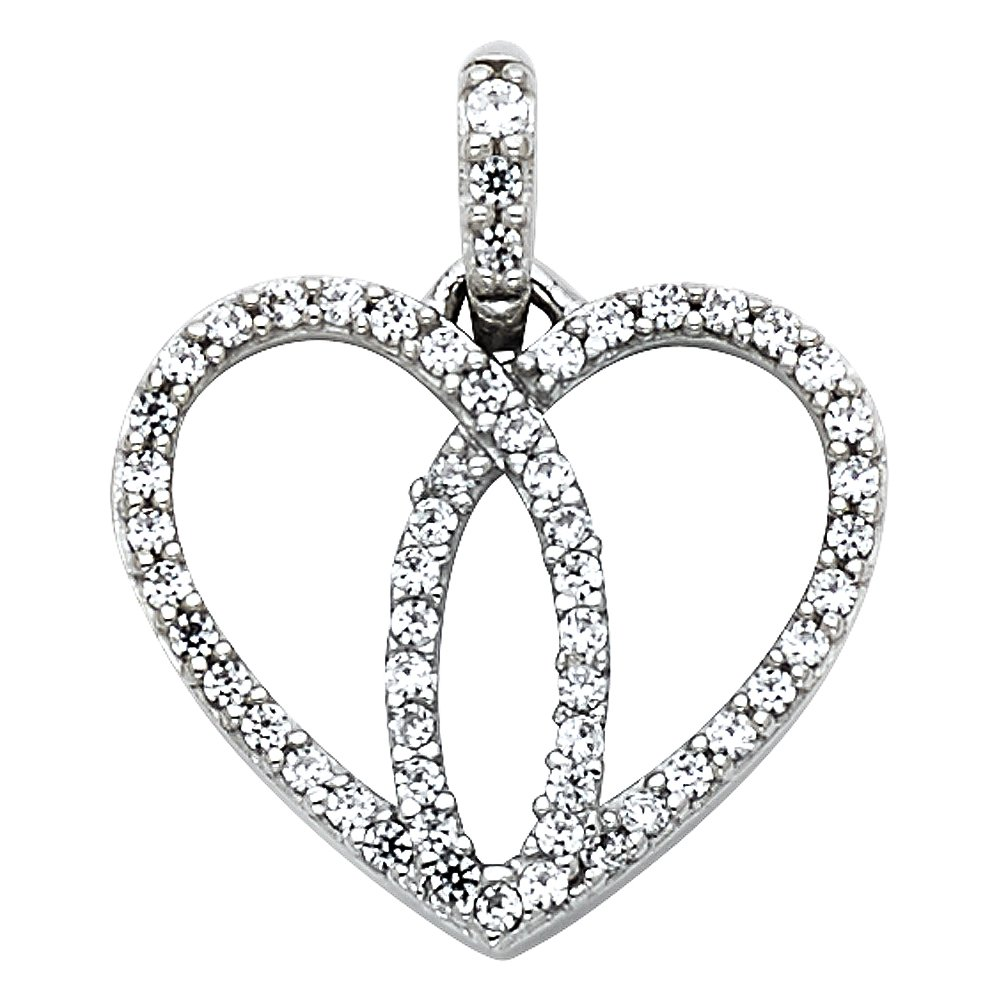 Million Charms 14k White Gold with White CZ Accented Heart Charm Pendant with 18 Rolo Chain
