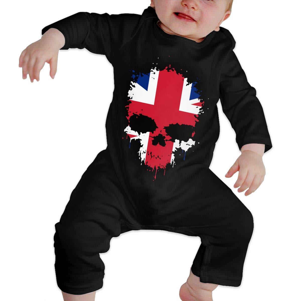 Newborn Baby Long Sleeved Coveralls British Flag Splatter Skull Baby Rompers