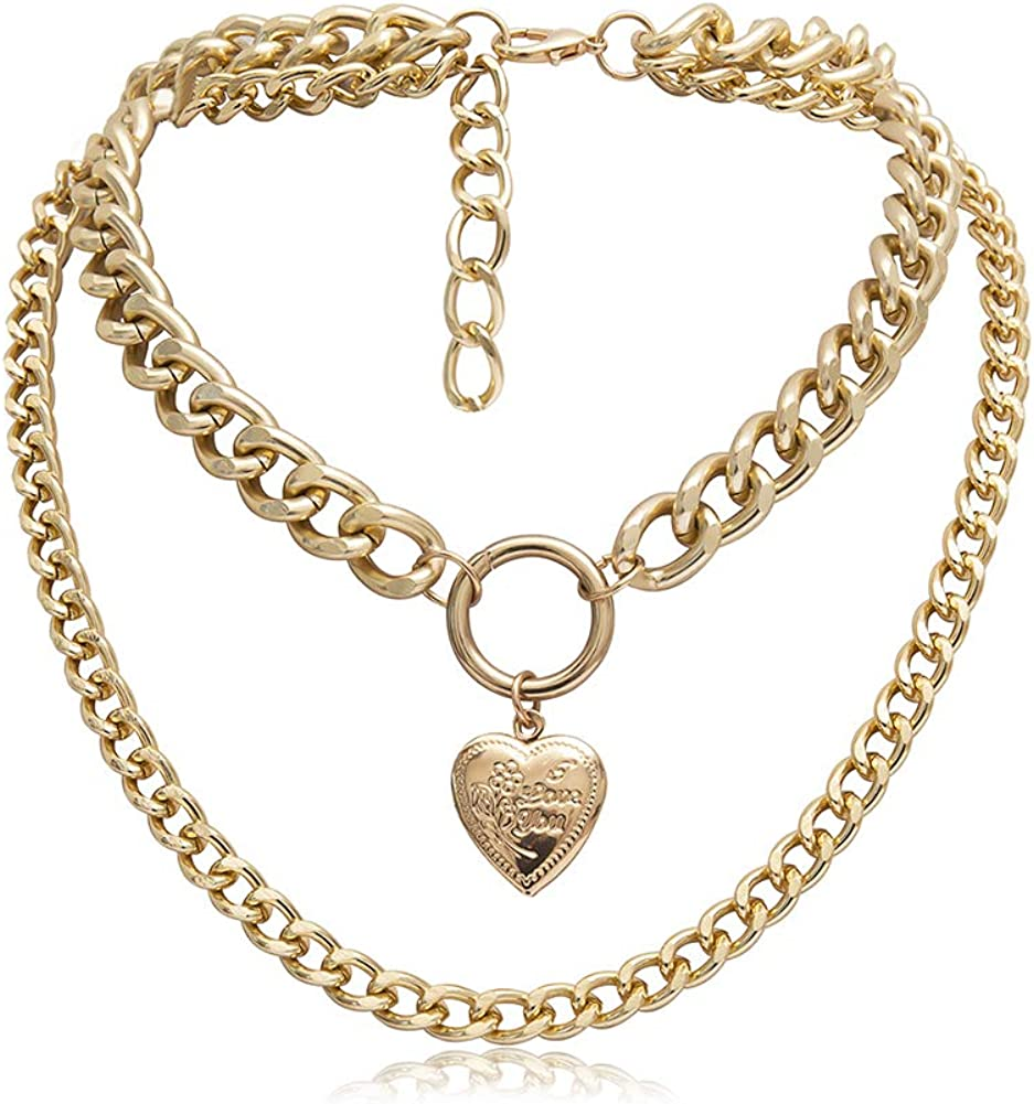 smallwoodi Pendant,Punk Double Layer Love Heart Curb Chain Choker Necklace