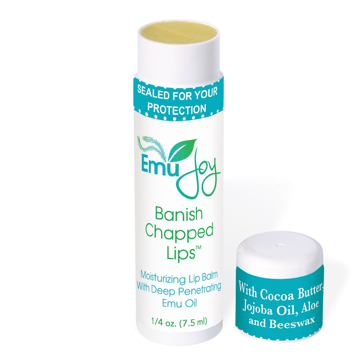 Stocking Stuffer BANISH CHAPPED LIPS Natural Lip Balm Ultra Moisturizing Emu Oil, Coconut Oil, Beeswax, Cocoa Butter and Other Natural Lip Moisturizers Tube has 50% MORE Than Most Lip Balms