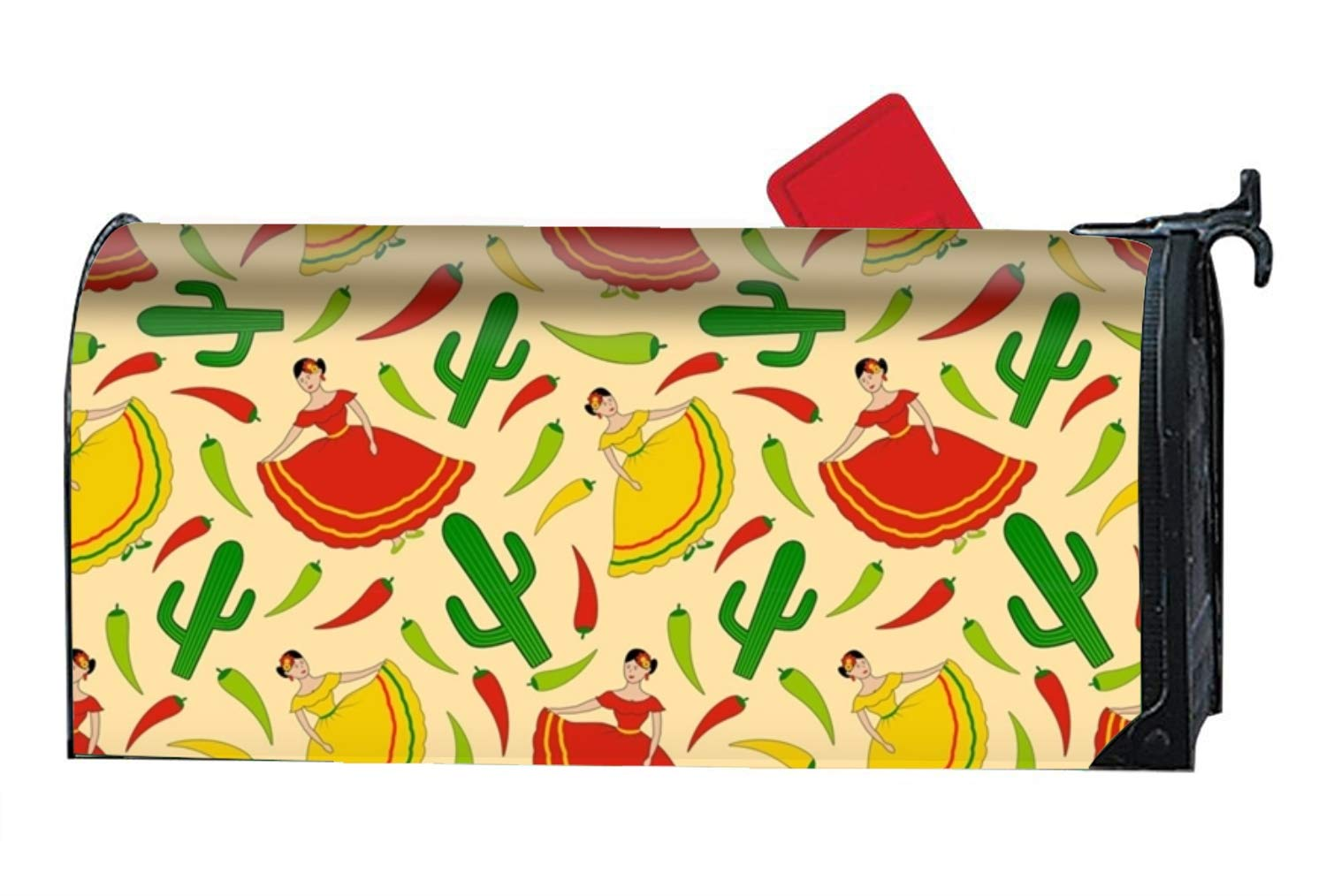 MAYS Mexican Women Pattern Custom Magnetic PVC Mailbox Cover - Mailbox Makeover