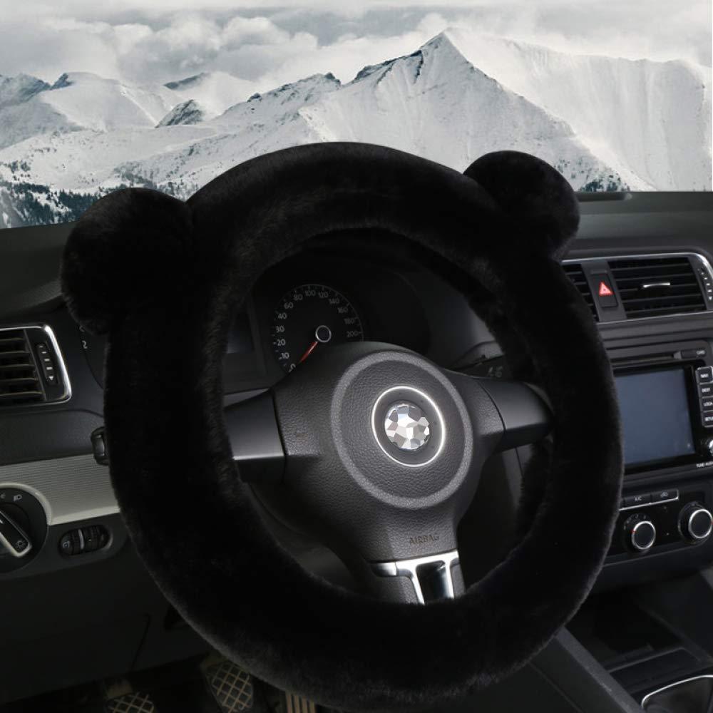 SSLL Coprivolante Auto,Inverno Peluche Coprivolante Auto Morbido Caldo Peloso Antiscivolo Leopard Veicolo Copri Volante Car Steering Wheel Cover 38cm,Black