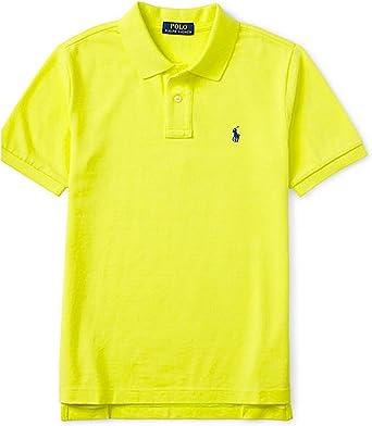 POLO RAPLH LAUREN Boys Polo Shirt Big Pony Long Sleeves Green Orange XL 18-20