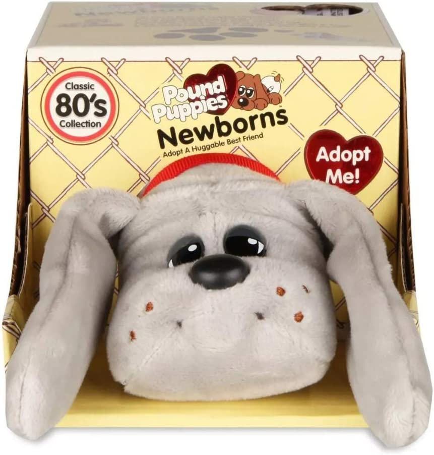 Pound Puppies 38108 Basic Fun New-Borns-Classic Stuffed Animal Plush Toy-8 inches-Grey-Gift for Boys and Girls-Ages 3+