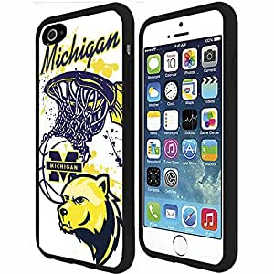 University of Michigan Wolverines Blue and Yellow College Basketball Sports RUBBER Snap on Phone Case (iPhone 6 Plus)